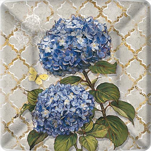 Boston International IHR Square Dinner Paper Plates, 10 x 10-Inches, Blue Heirloom Flower
