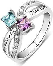 Quiges My Creation Sterling Silver 2 CZ Birthstone Personalised Engraved Name Double Twisted Stacking Custom Ring Size (Various Sizes and Colors)
