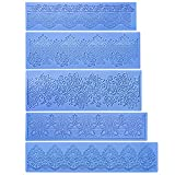 Cedilis 5 Pack Silicone Lace Mold, Fondant Lace Molds with Assorted Lace Texture, Flower Pattern Lace Mat for Cake Decorating, Blue