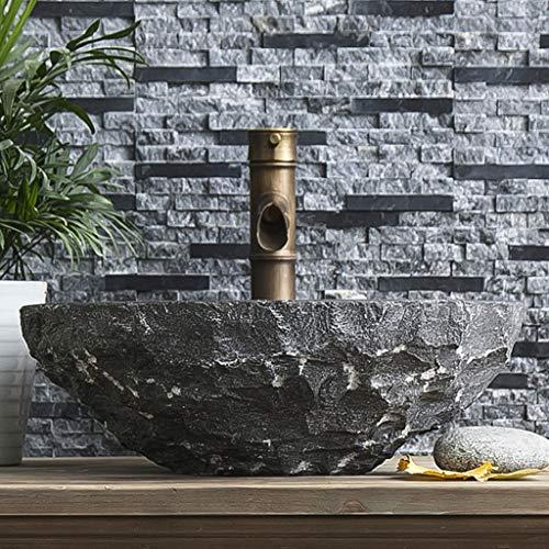 Vast balkon Retro Stone Carving Art Wastafel Rond Handgemaakte Wear-Resistant Wastafel, 42CM * 42CM * 14CM 1224