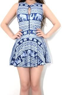 開閉式 スクール水着スカートスタイルホットワンピース水着の股見えないジッパーファスナー 象を印刷