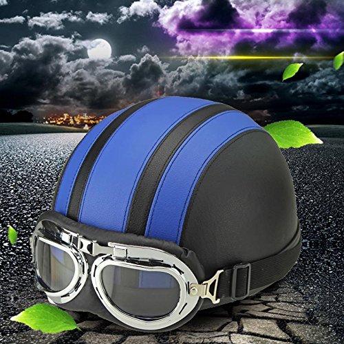 WANGQI Casco de bicicleta unisex para adultos, casco de moto, casco semiintegral, ajustable, semiabierto, con gafas de protección solar, retro, de piel, para las cuatro estaciones, universal