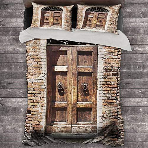Miles Ralph Tuscan Decor Collection King Bed Comforter Antique Looking Window on Ancient Stone Wall Photography Quilt Cover and Pillowcase 89'x89' inch Brown Ivory Peru
