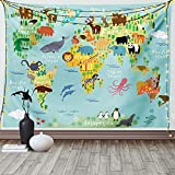 Ambesonne Wanderlust Tapestry, Colorful Animal Map of The World for Cartoon Continents Mountains Forests Funny Illustration Print, Wide Wall Hanging for Bedroom Living Room Dorm, 60' X 40', Pale Blue