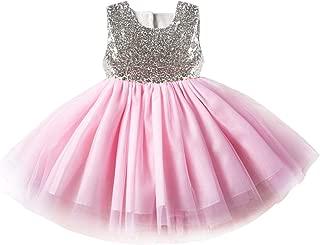 Áo quần dành cho bé gái – Toddler Kid Girls Dress|Sleeveless Floral Sequins Lace Tutu Dress for Party Wedding Princess
