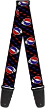 Buckle-Down 2 Inches Wide Guitar Strap - Steal Your Face Repeat w/Mini Lightning Bolt Black/Red/White/Blue (GS-WGD021)