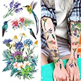 Supperb Temporary Tattoos - Colorful Summer Tropical Plants Flower Bouquet Birds hummingbird (Set of 2)