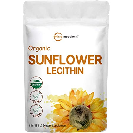Organic Sunflower Lecithin Powder, 1 Pound (454g), Sustainable Farmed, Cold Pressed, Rich in Phosphatidyl Choline and Protein for Immune System Booster, No Soy, No GMOs and Vegan Friendly