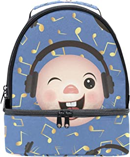 Lunch Box Emoticon phone Music Note Insulated Lunch Bag Large Cooler Tote Bag for Adult,Men,Women,Kids