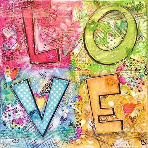Lifang sister diamant schilderij 5D DIY kunst schilderij volwassenen pers digitale schilderset handwerk geschikt voor hoofdwanddecoratie liefde kaart 35x35 cm