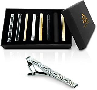 Tie Clip Gift Set by TMB Innovations | Men's Luxury 8pc Tie Clip Gift Set, Stainless Steel Tie Clips, Variety Set - Quality Black Gift Box