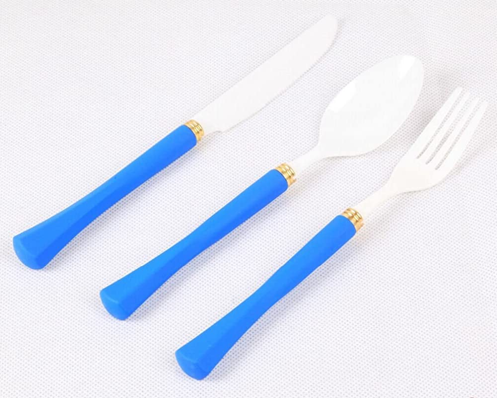 3 Piece Simplicity White Ceramic Flatware Set Forks Knives Spoons With Blue Handle