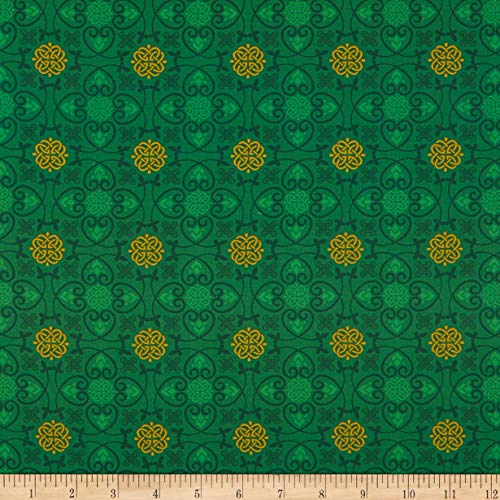 Fabric & Fabric QT Fabrics Irish Charm Celtic Medallions, Green