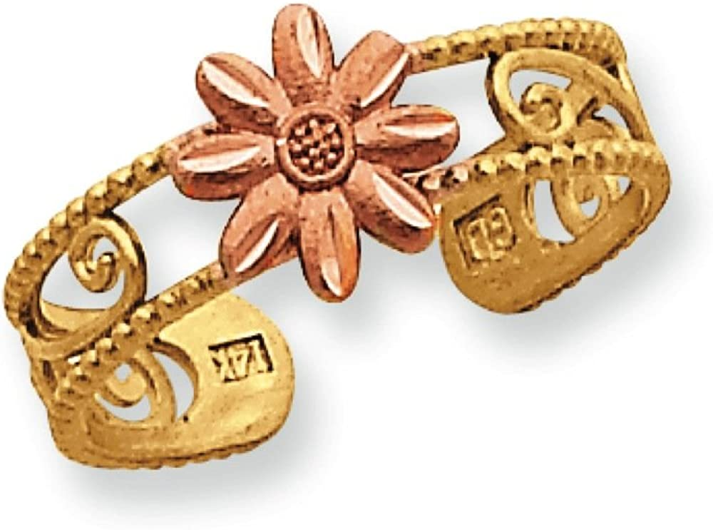 Women's 14K Two-Tone Gold Flower Toe Ring