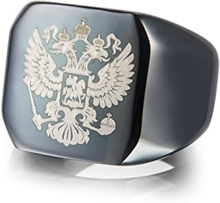 JINSHIYINYU Double Headed Imperial Eagle Ring Byzantine Emperor Russian Federation Coat of Arms Signet