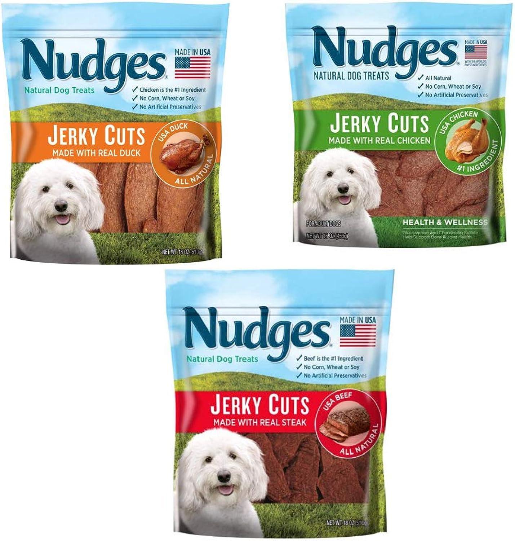 Nudges Steak Grillers Dog Treats (3 Flavor Jerky CUTS Bundle)