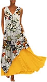 Howely Women's Swing Vintage V-Neck Draped Sleeveless Long Maxi Dress