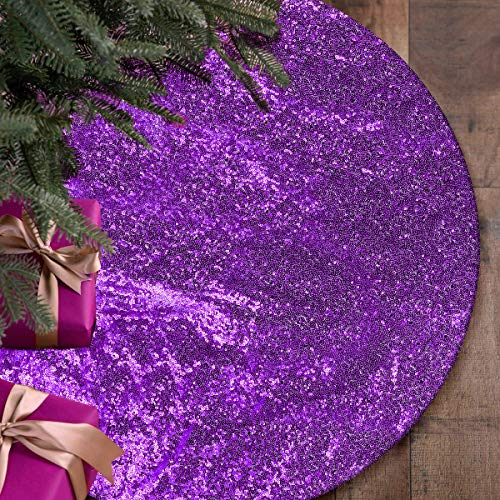 Yuboo Purple Christmas Tree Skirt, 48 Inch Sequin Double Layers Xmas Tree Mat for Holiday Party