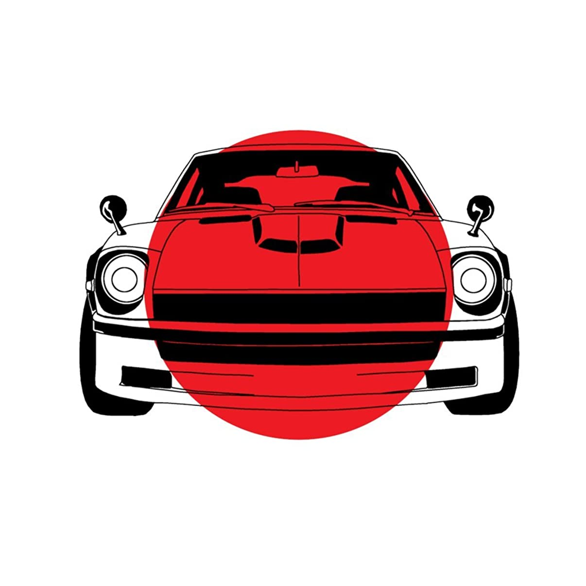 Datsun Z With Japanese Flag And Rising Sun OriginalStickers0229 Set Of Two (2x) Stickers , Laptop , Ipad , Car , Truck , Size 4 inches on Longer Side