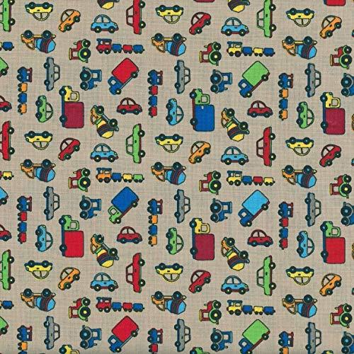 Textiles français Tela para niños - Beep Beep! - Camiones, Trenes, automóviles y Tractores - (sobre un Fondo Beige Arena) | 100% algodón Suave | Ancho: 140 cm (por Metro Lineal)*