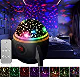 Gift for Kids Newest Baby Star Night Light Projector,360 Degree Rotating Remote Control and Timer Design Projection Lamp, Best Night Lights for Kids Adults and Nursery Decor-Black