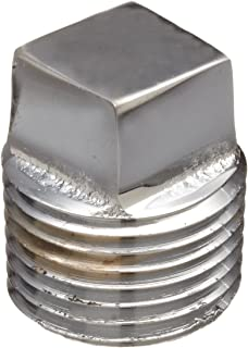 Chrome Plated Brass Pipe Fitting, Square Head Solid Plug, 1