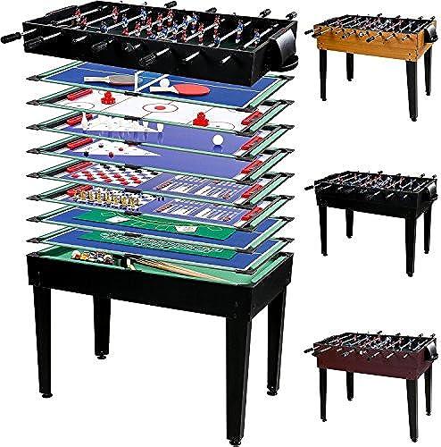 Maxstore Multigame Spieletisch Mega 15 in 1, inkl. komplettem Zubeh  Spieltisch mit Kickertisch, Billardtisch, Tischtennis, Speed Hockey UVM. in 3 Dekorvarianten
