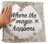 Donde The Magic Happens - Funda de cojín con lentejuelas plateadas