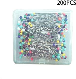 Chunyu 針 洋裁用ピン パッチワーク用待針 まち針 キルティング待針 パール頭ピン 花のボールの装飾 ケース入り 200本入り