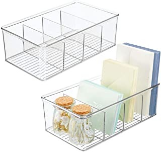 mDesign Plastic Office Storage Organizer Bin Box - Clear Pack of 2 White
