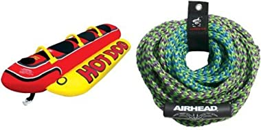 AIRHEAD HD-3 Hot Dog Towable and AIRHEAD AHTR-42 4 Rider Tube Rope Bundle