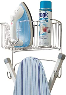 mDesign Metal Wall Mount Ironing Board Holder with Large Storage Basket - Holds Iron, Board, Spray Bottles, Starch, Fabric Refresher for Laundry Rooms - Chrome