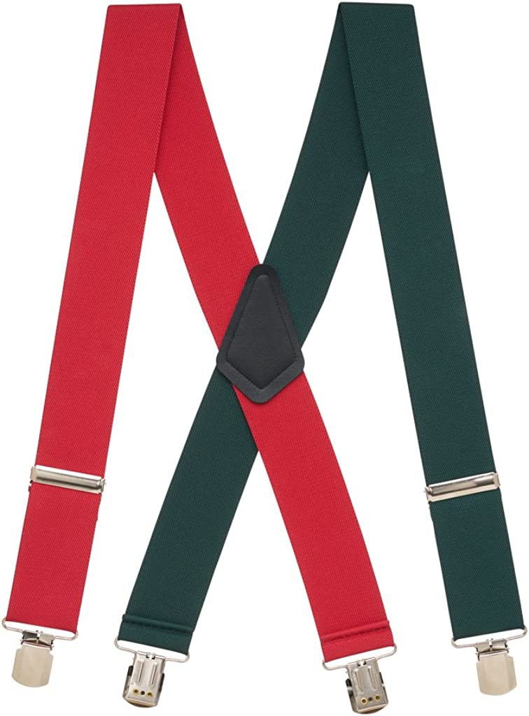 Outstanding Long-awaited SuspenderStore Men's Red-Green Suspenders Pin Wide 2-Inch Clip