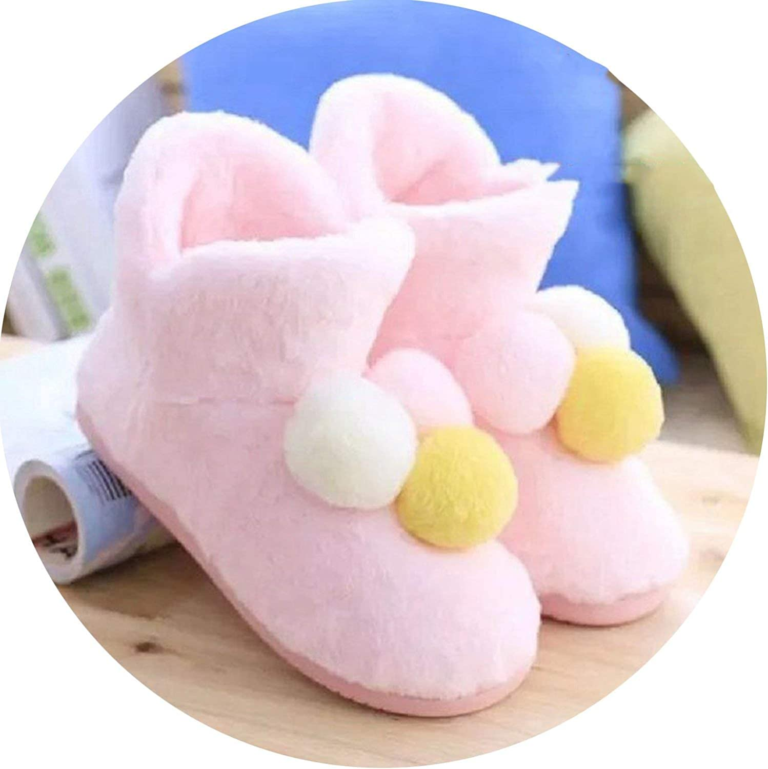 Fantastic-Journey Home Slippers Warm Floor Ball Genuine Cony Hair Inner Balls Women Cotton shoes