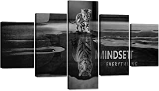 MINDSET IS EVERYTHING Pictures Cat Canvas Print 5 Piece Wall Art Tiger Animal Poster Painting Modern Inspiring Artwork Wooden Decor for Living Room Bedroom Office Home Decor Framed (70''W x 40''H)