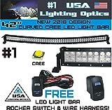2016 #1 42 inch Curved 240W CREE LED Light Bar by USA Lighting OpticsTM spot flood combo beam Great for Offroad Trucks 4x4 radius fog, JEEP, Trucks, UTV SUV 4x4 Polaris Razor 1000 Tractor Marine Raptor RZR, FREE LED LIGHT BAR SWITCH KIT