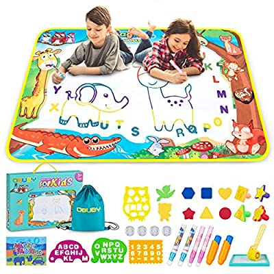 Aqua Magic Doodle Mat 40 x 28 Inches Kids Doodling Mats Water Drawing Writing Board Toy for Kid Toddler Animal Educational Painting Pad Toys for Age 3 4 5 6 7 8 9 10 11 12 Girls Boys Toddlers Gift