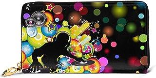 Hdadwy My Music DJ Wallet Blocking Cartera de Cuero Genuino Zip Around Tarjetero Organizador Cartera de Embrague Monedero ...