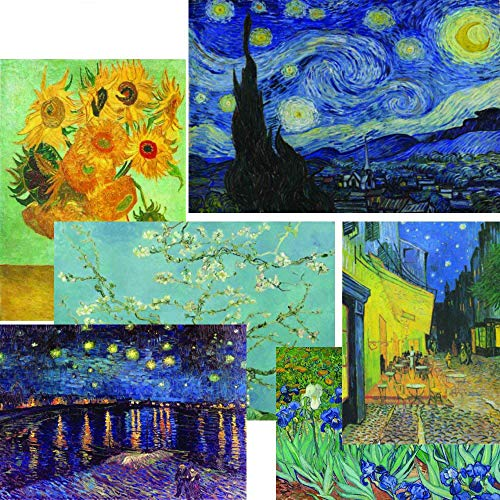 Creanoso Vincent Van Gogh Famous Paintings Poster (12-Pack) - Starry Night Sunflowers Almond Blossoms