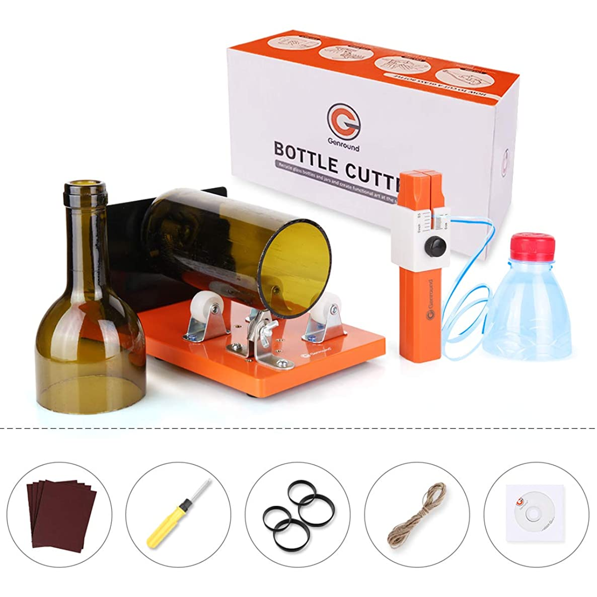 Genround 2.1 Glass Bottle Cutter and Plastic Bottle Cutter Set for Plastic and Glass Bottle Cutting | Cut Round, Square and Oval Glass Bottle from Neck to Bottom | Bottle Cutting Tool for DIY Projects