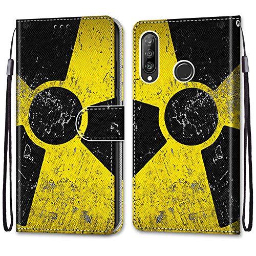 Nadoli Handyhülle Leder für Huawei P30 Lite,Bunt Bemalt Schwarz Gelb Zeichen Trageschlaufe Kartenfach Magnet Ständer Schutzhülle Brieftasche Ledertasche Tasche Etui