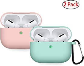 Compatible AirPods Pro Case Cover Silicone Protective Skin for Apple Airpod Pro Case 2019 (Front LED Visible) 2 Pack Sand Pink/Turquoise