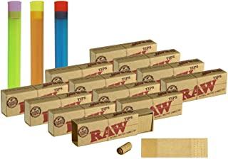 Bundle - 15 Items - 12 Packs of Raw Perforated Gummed Tips (396 Total Perforated Gummed Tips) + 3 Beamer Doob Tubes