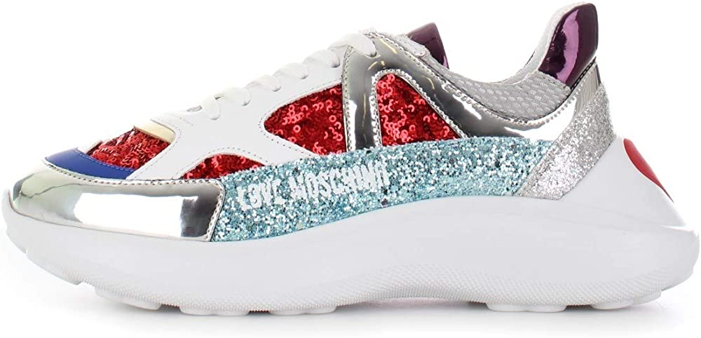 Love moschino sneakers donna in pelle e tessuto tecnico JA15306G1AIL150A