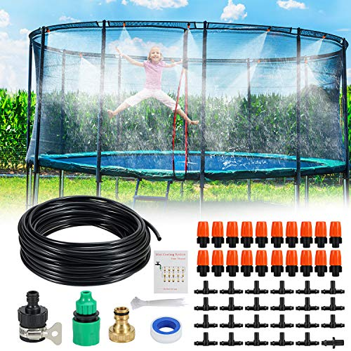 Trampoline Sprinkler Outdoor DIY 50 FT 20 Nozzles Misting Cooling System Kit Waterpark Summer Game Toys Accessories for Kids and Adults in Patio Garden Lawn Greenhouse Irrigation Kit(50FT/15M)