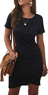 Women's 2021 Casual Crew Neck Short Sleeve Ruched...