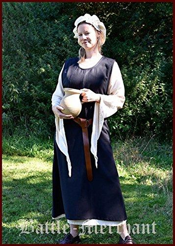 Battle-Merchant Mittelalterkleid Überkleid Milla Dienstmädchenkleid Zofe S-3XL Mittelalter, LARP, Wikinger Kostüm (3XL, Schwarz)