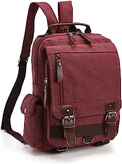 Mochila Hombres Mujer Lona Bolso de Bandolera La Bolsa de Mensajero Bolsa de Lona Bolsa de Hombro Messenger Bag Backpack. (Púrpura)