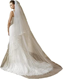 CongYunGe Women's 2 Tier 3M Tulle Long Satin Ribbon Edge Bridal Veils Ivory 02