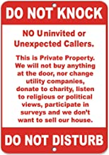 in the Ivy Do Not Knock No Uninvited Or Unexpected Callers Warning Metal Tin Sign UV Printed Weather Resistant Long Lasting Ink Safety Sign